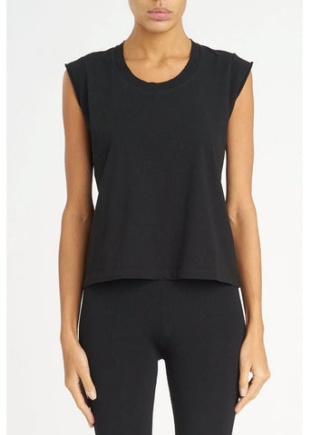 T by Alexander Wang muscle tee with distressed rib black