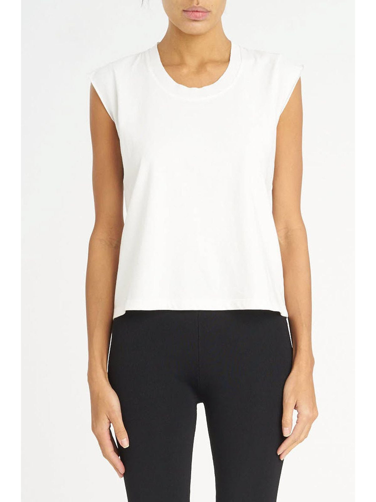 T by Alexander Wang muscle tee with distressed rib white