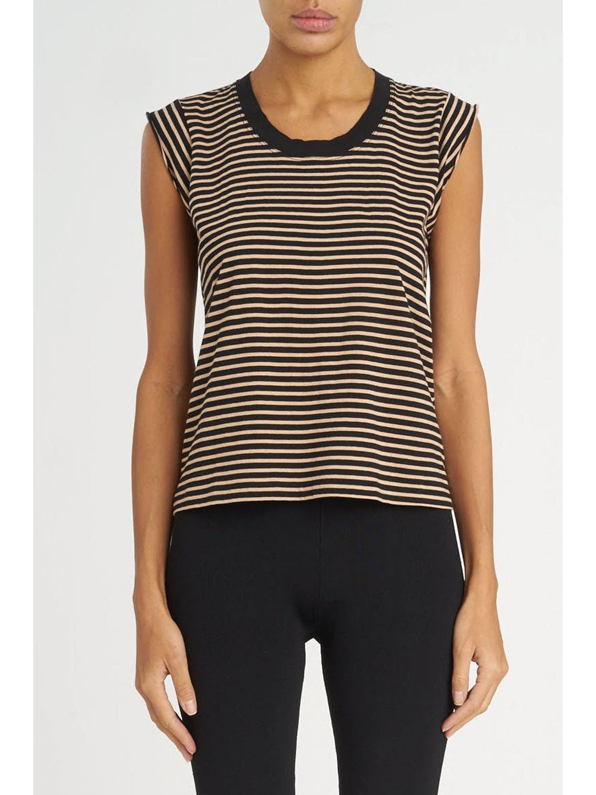 T by Alexander Wang striped muscle tee with distressed rib