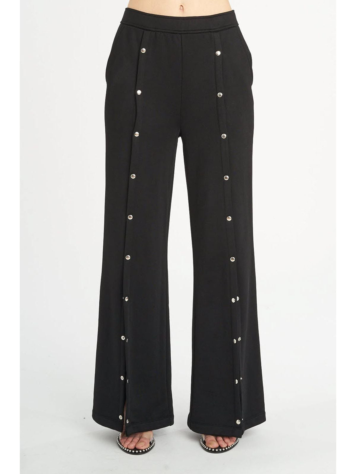 T by Alexander Wang french terry wide leg pull on pant black