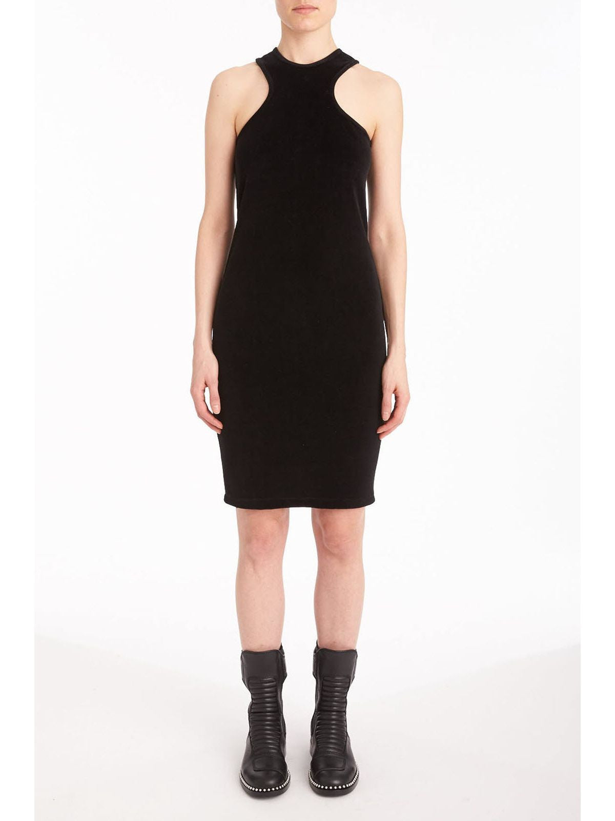 T by Alexander Wang velour racerback tank dress black