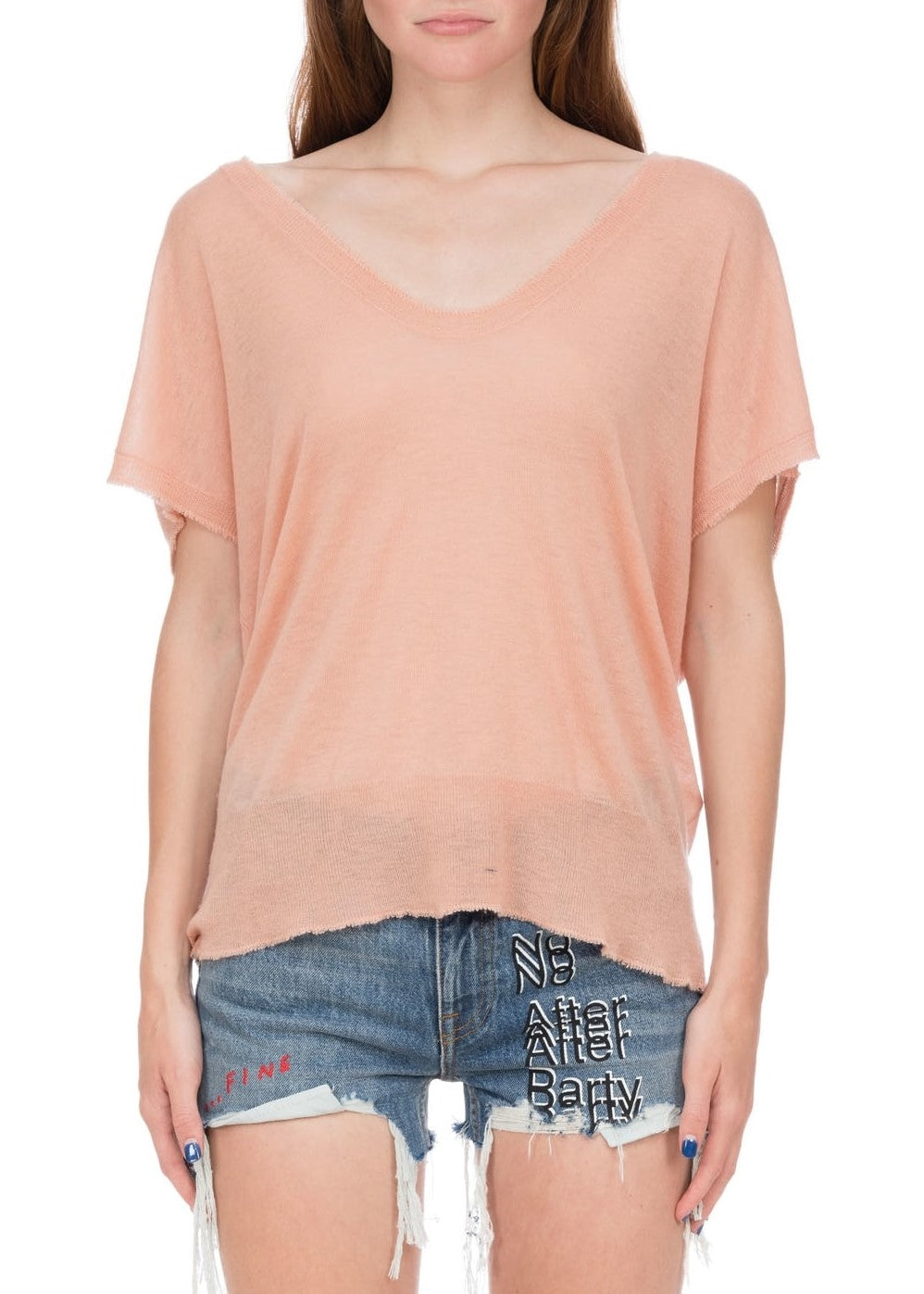 T by Alexander Wang short sleeve scoop tee rose