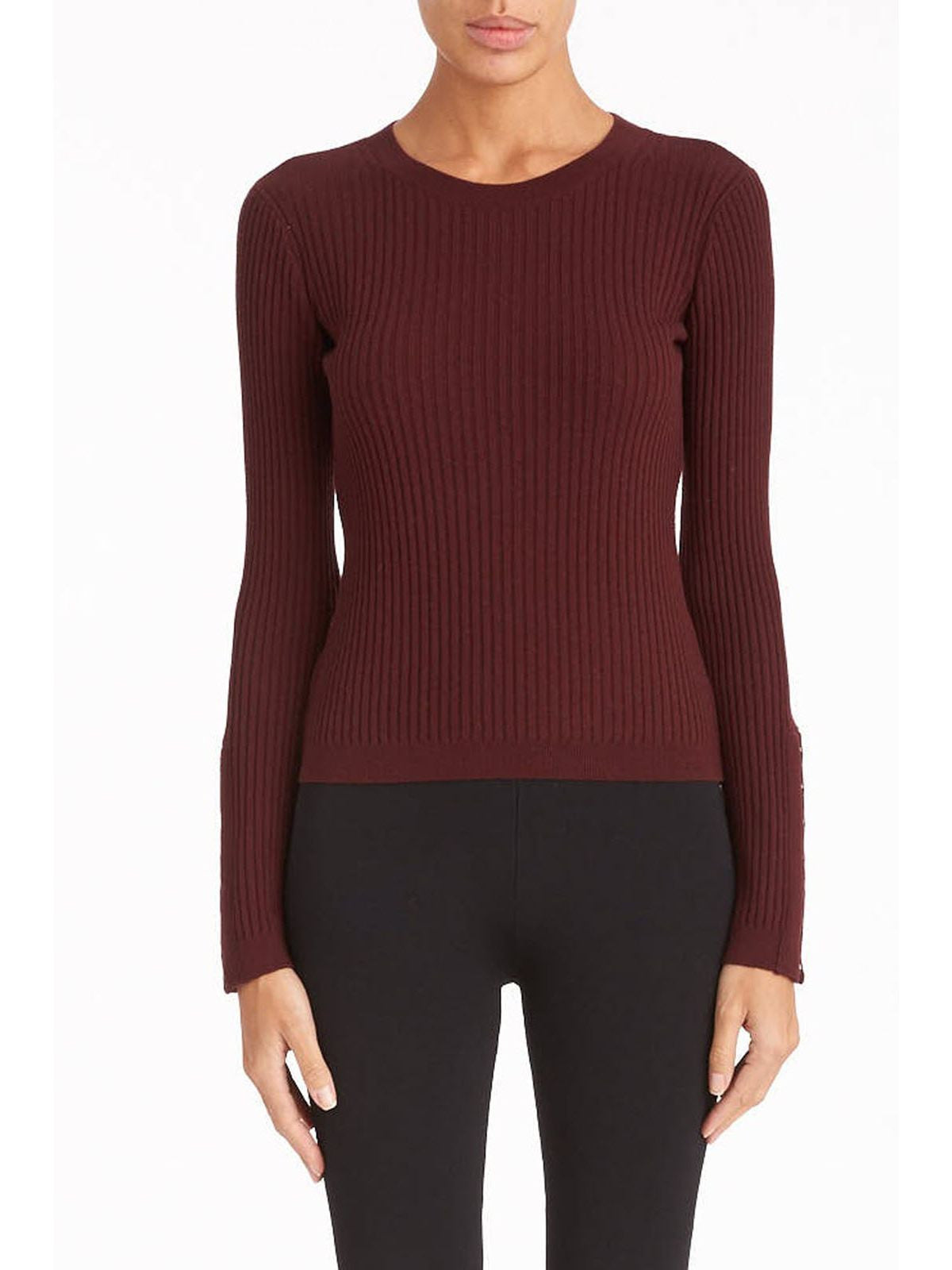 T by Alexander Wang sweater with hook and eye detail burgundy