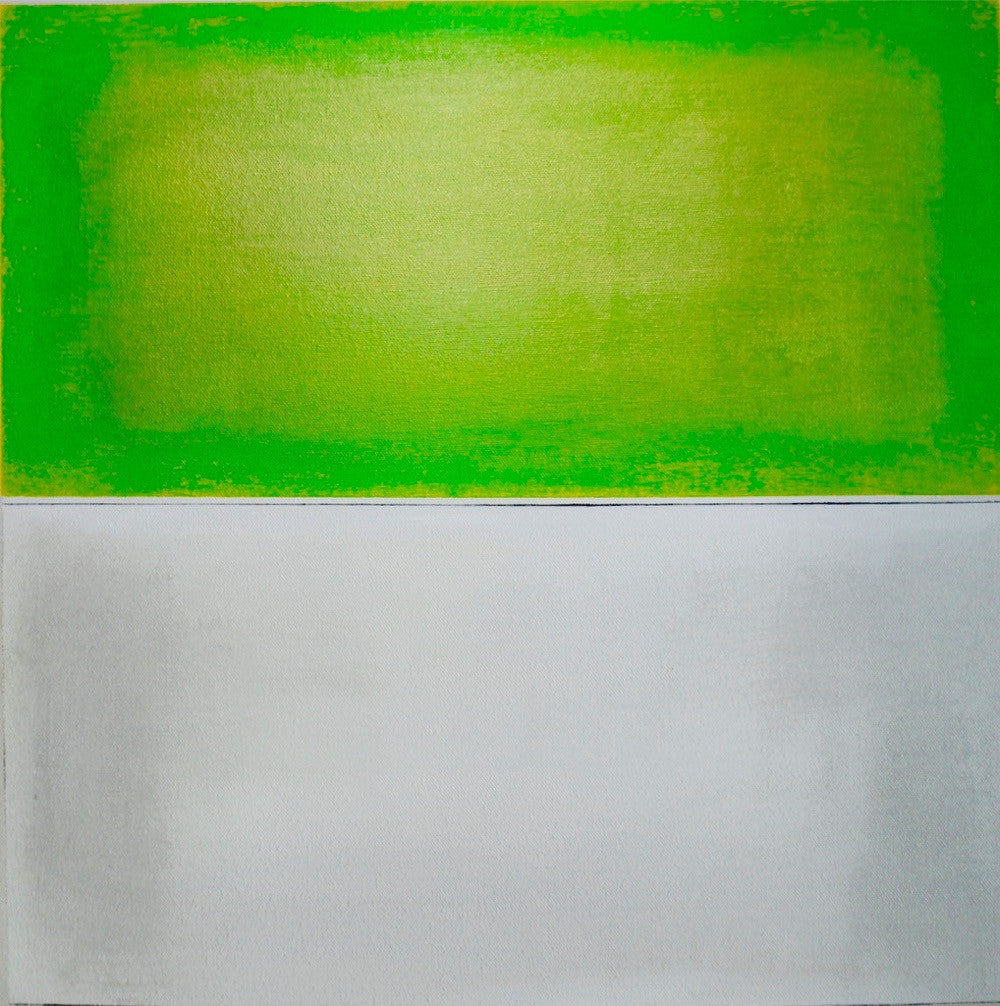 Michelle Tholen - Lime Green White Black, Acrylic on canvas