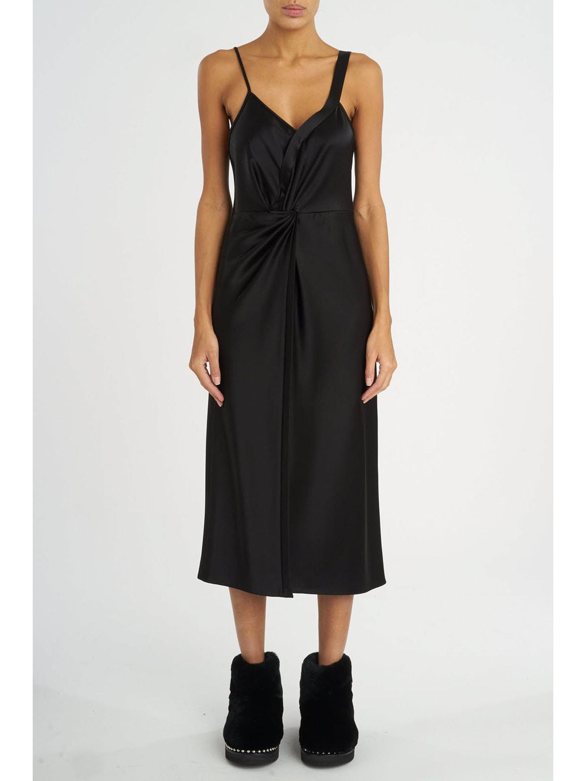 T by Alexander Wang satin knot front dress black