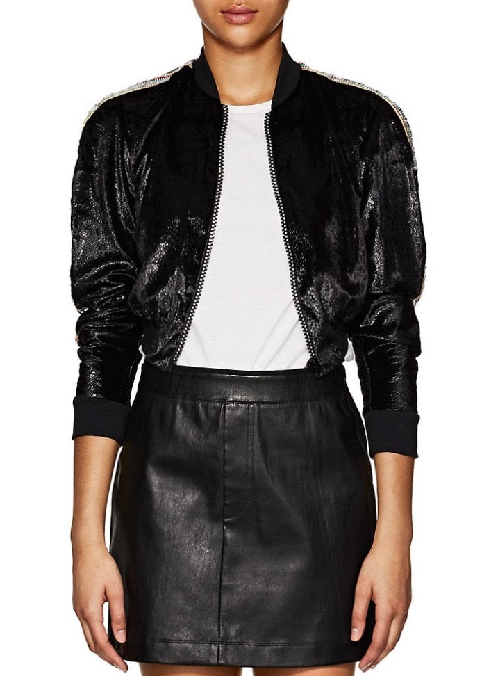 Area Ezra cropped bomber jacket in black