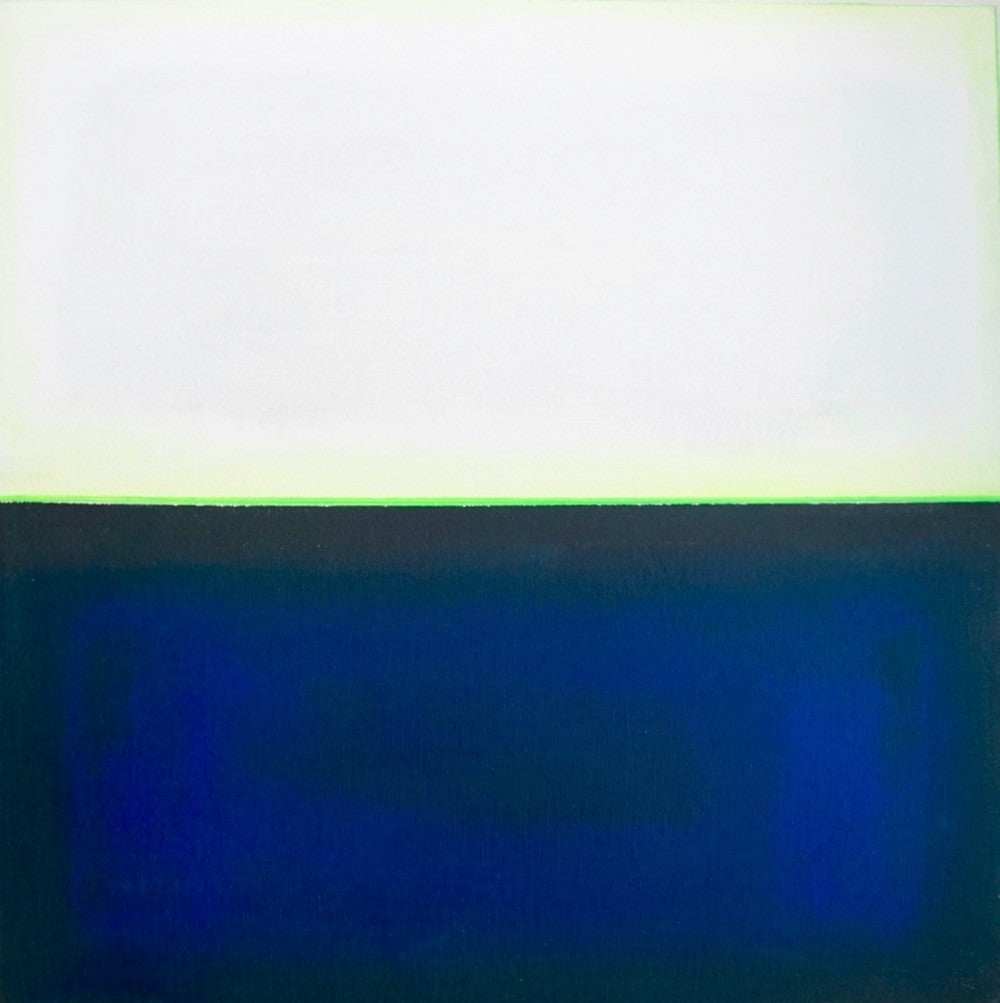 Michelle Tholen - Lime Green over Blue Gray, Acrylic on canvas
