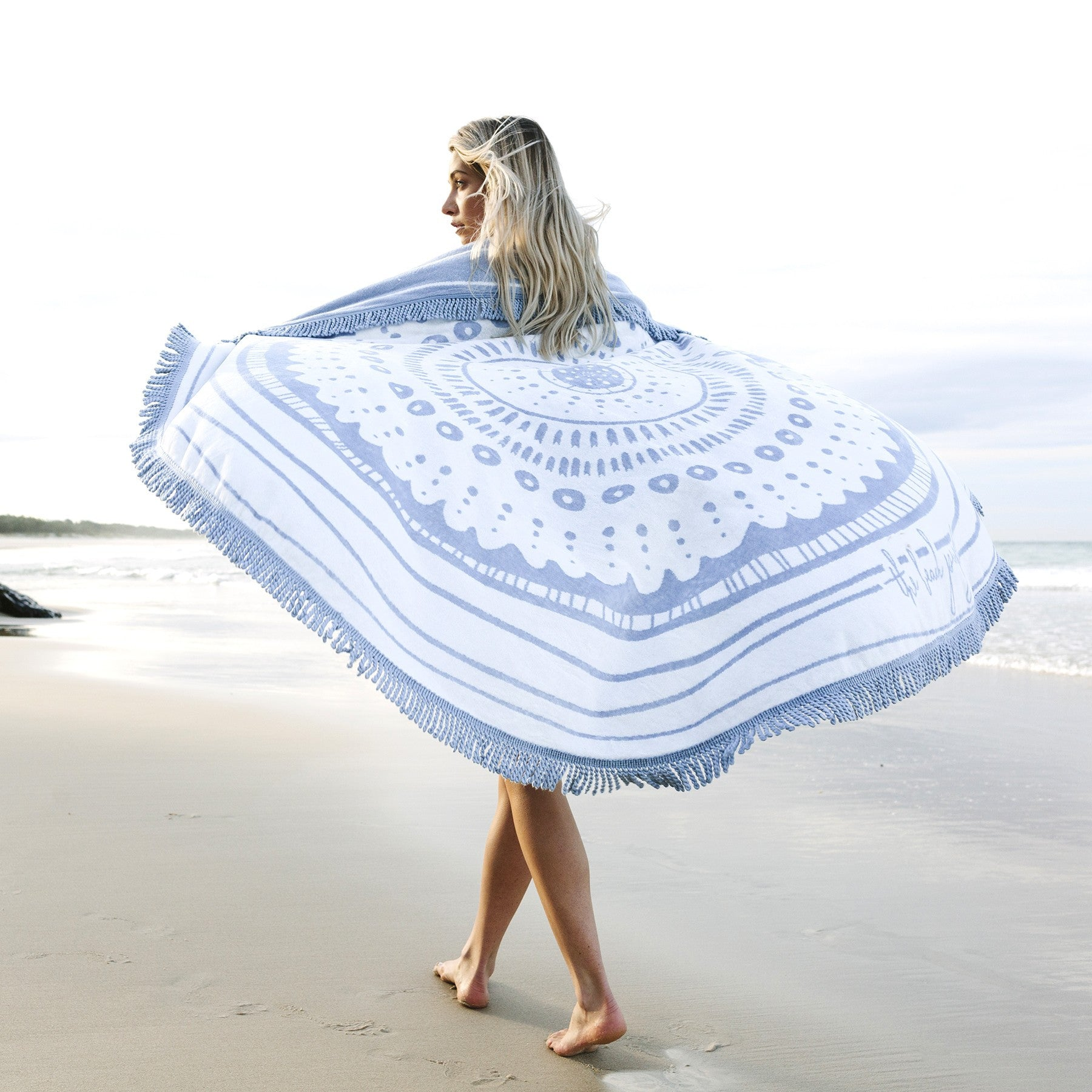 The Beach People Wategos towel blue white
