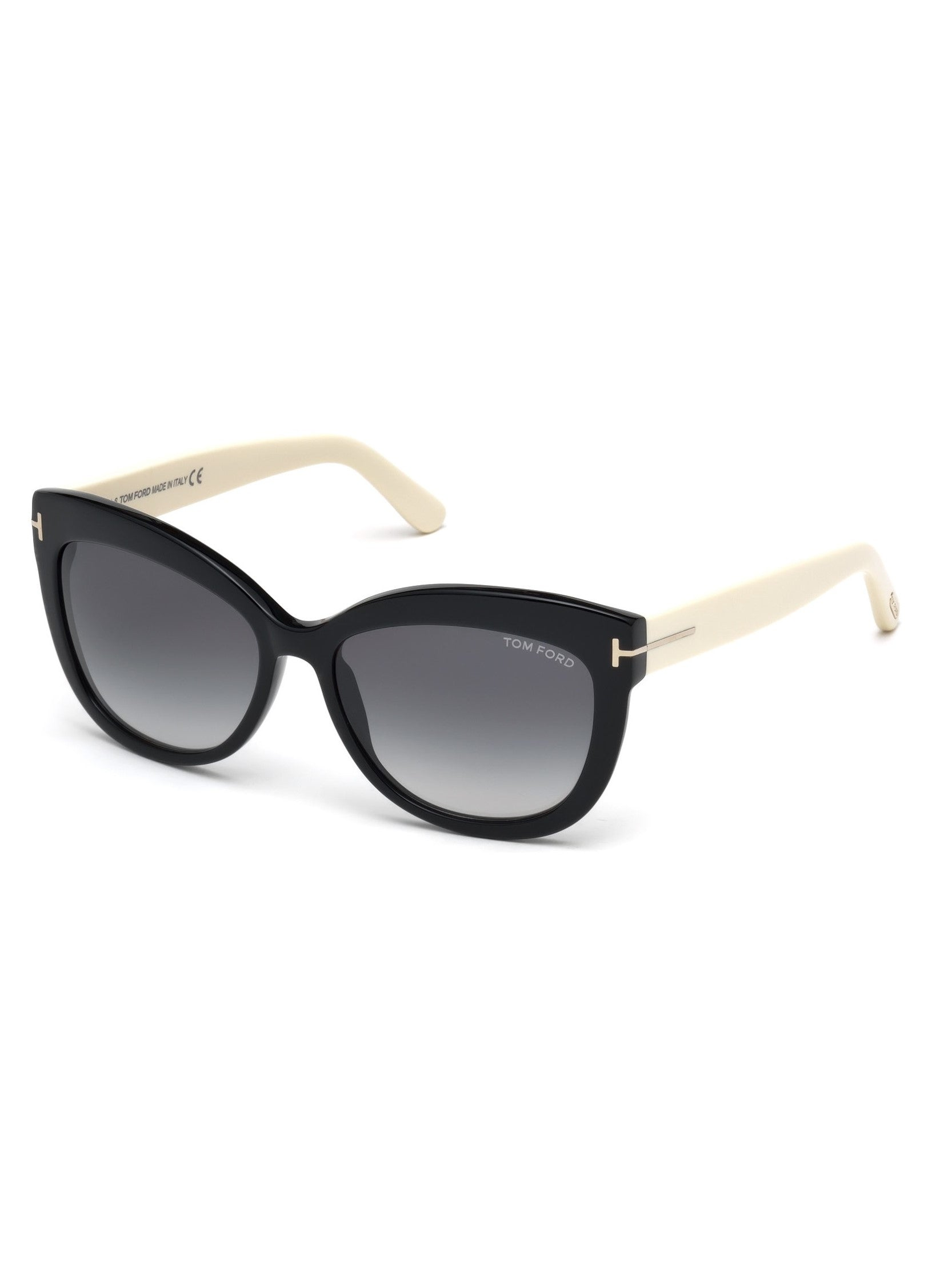 Tom Ford Alistair sunglasses in black/cream with gradient smoke lenses