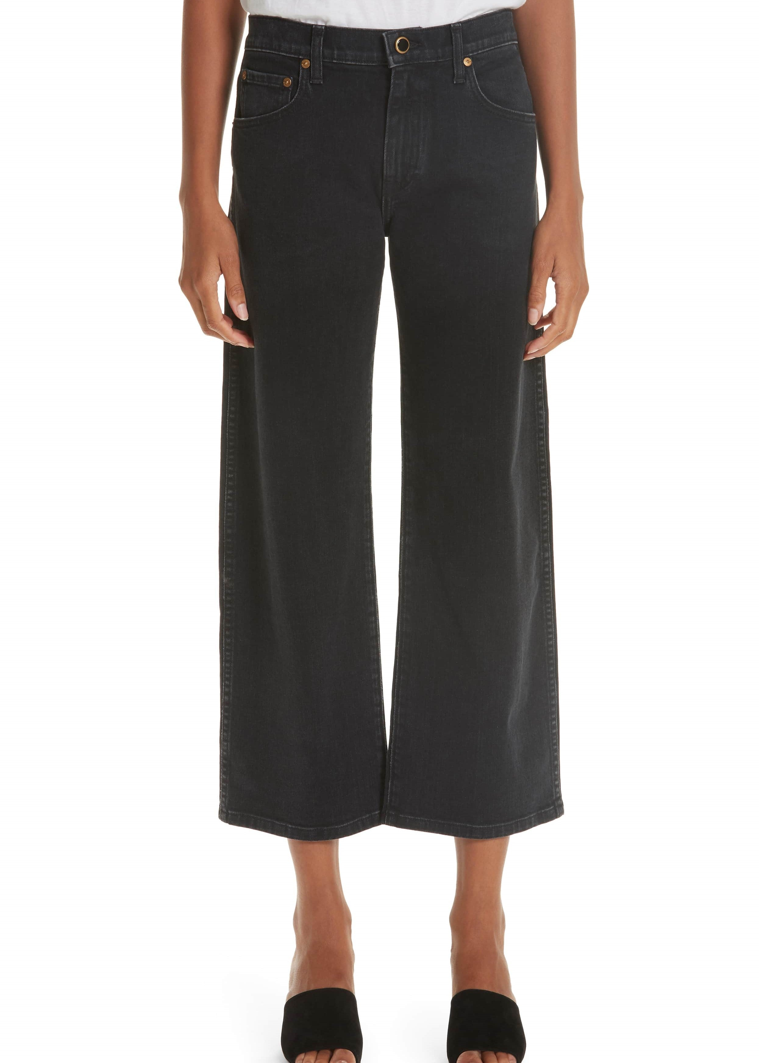 Khaite Wendell cropped wide leg jeans in stoned black