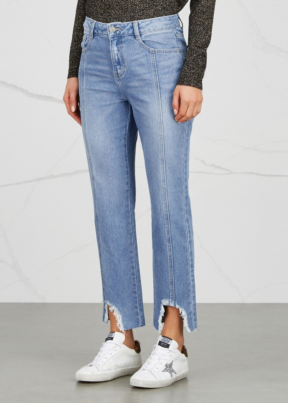 SJYP hem destroyed boyfriend jeans blue