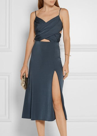 Cushnie et Ochs cross over bust dress with slit blue