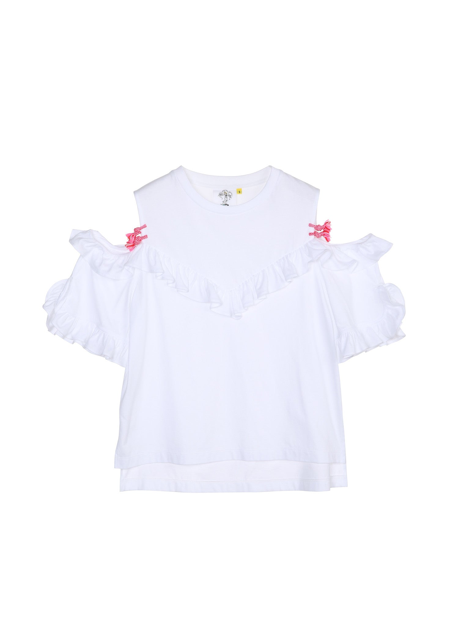 SJYP FRILL SHOULDER CUT TEE white