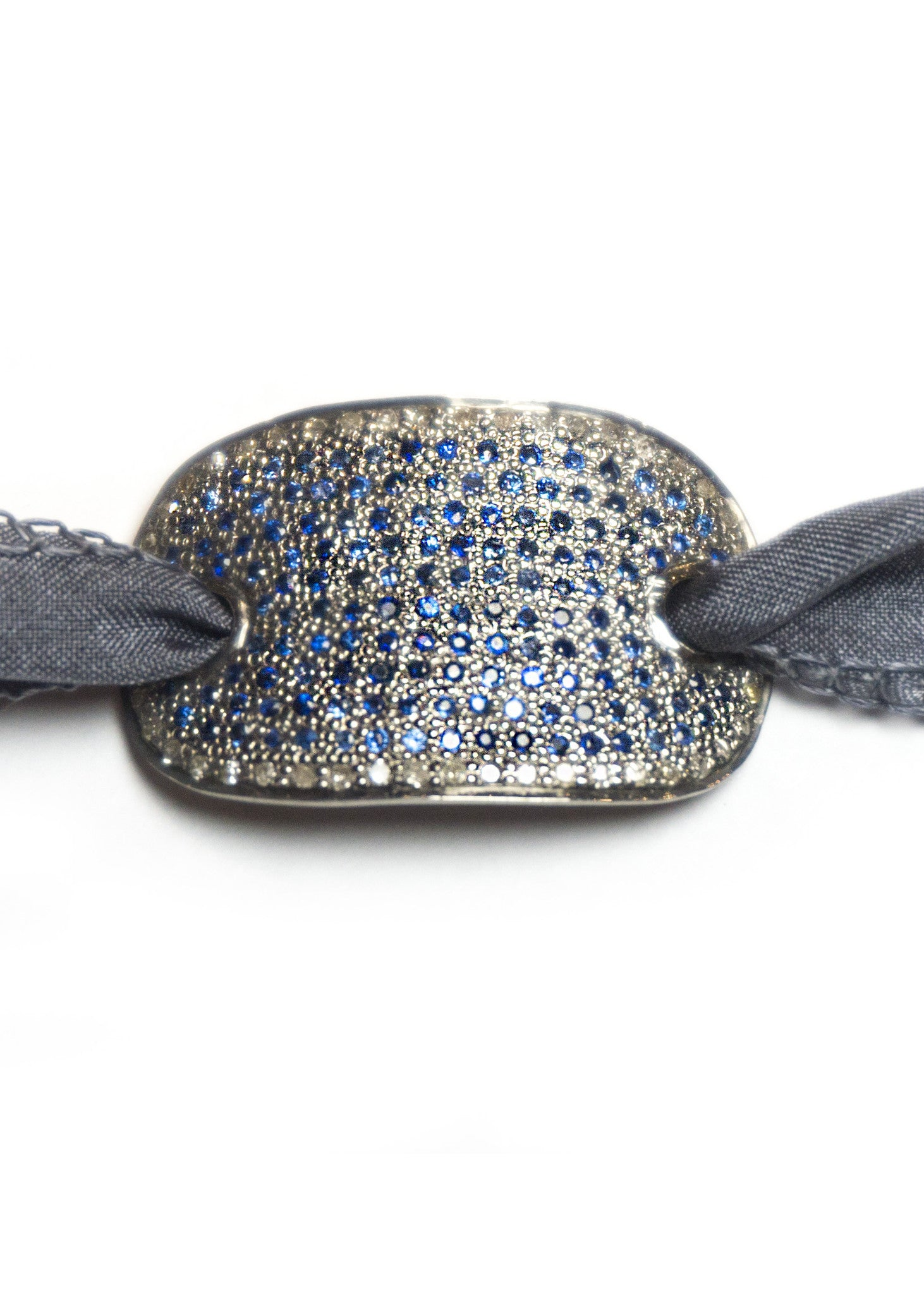 Lera Jewels midi sapphire and pave diamond cuff on silk ribbon