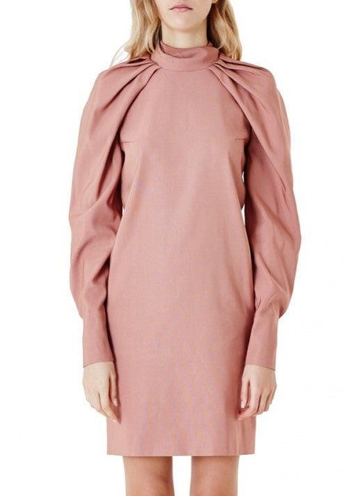 Carven long sleeve drape dress rose