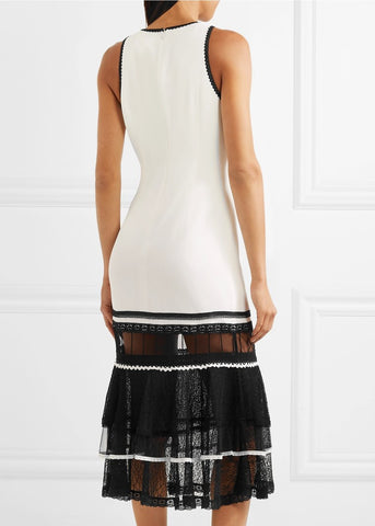 Jonathan Simkhai peplum trim dress white black