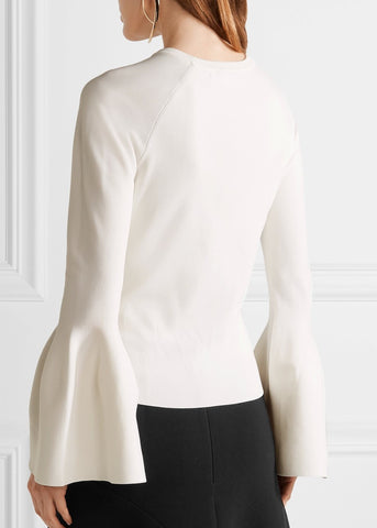 Jonathan Simkhai bell sleeve sweater white