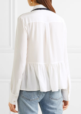 Markus Lupfer sequin planet skye blouse ivory navy