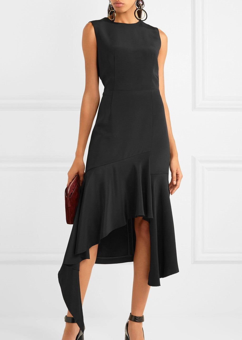 Goen.J asymmetric backless dress black