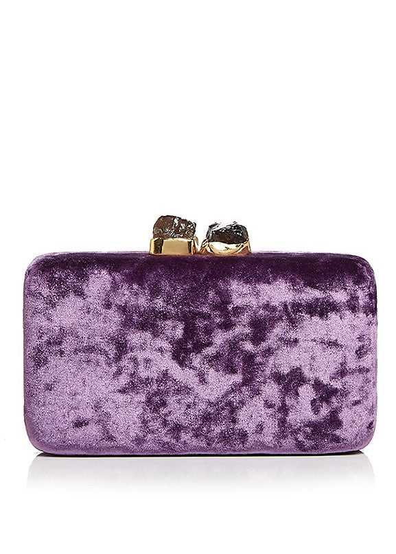 Kayu Margaux velvet clutch in purple