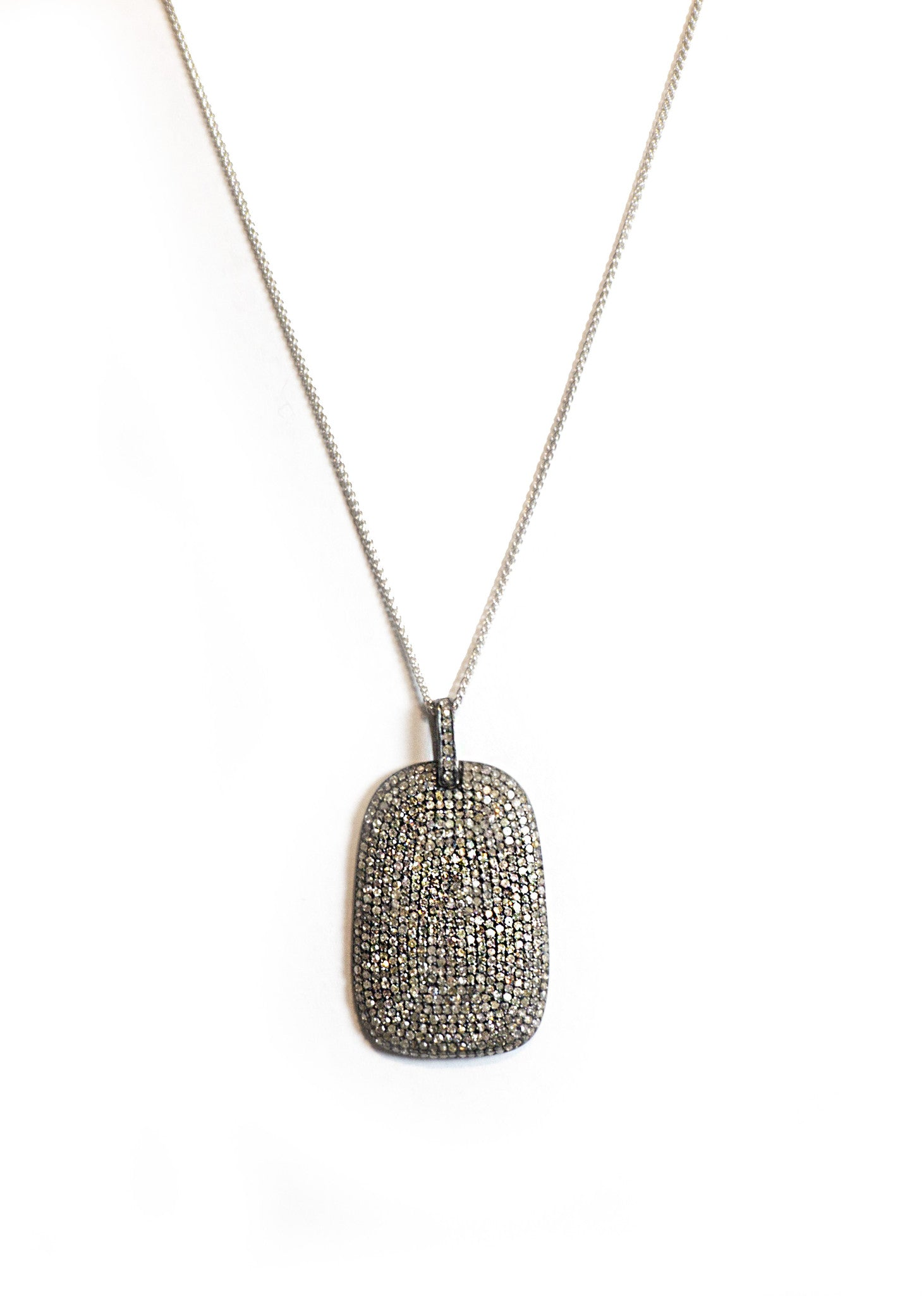 Lera Jewels pave diamond dog tag necklace 14k white gold
