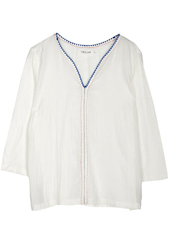 Indi and Cold knitted trim blouse white