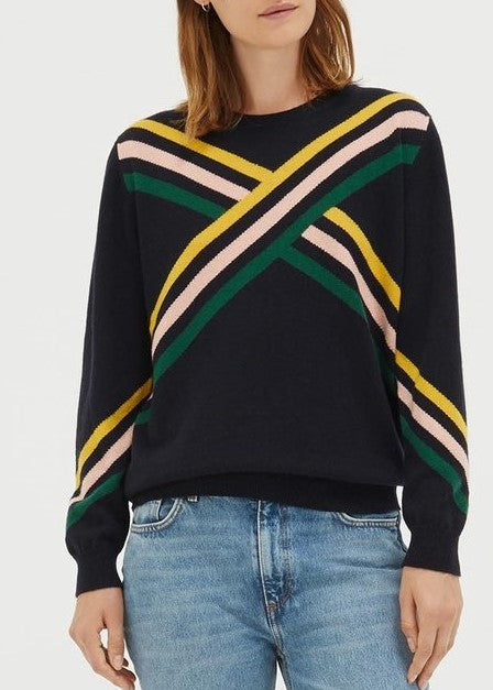 Chinti and Parker Adagio Sweater in navy/green