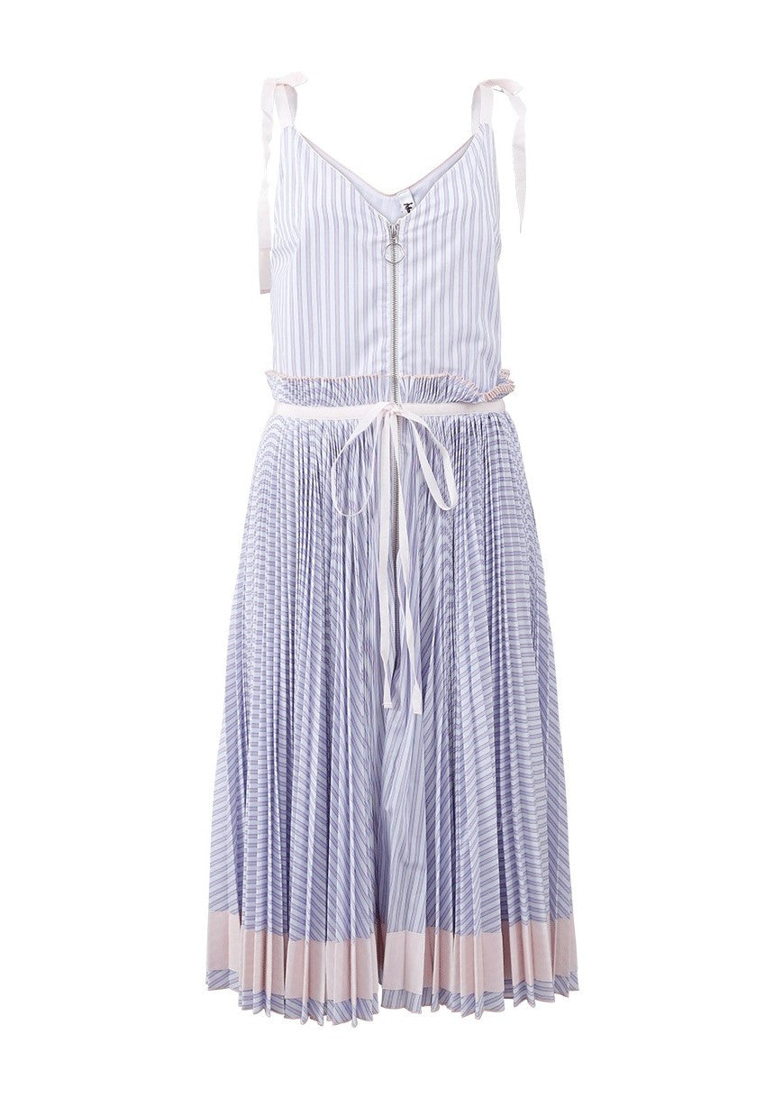 Adam Selman Spring Affair pleated stripe tank dress