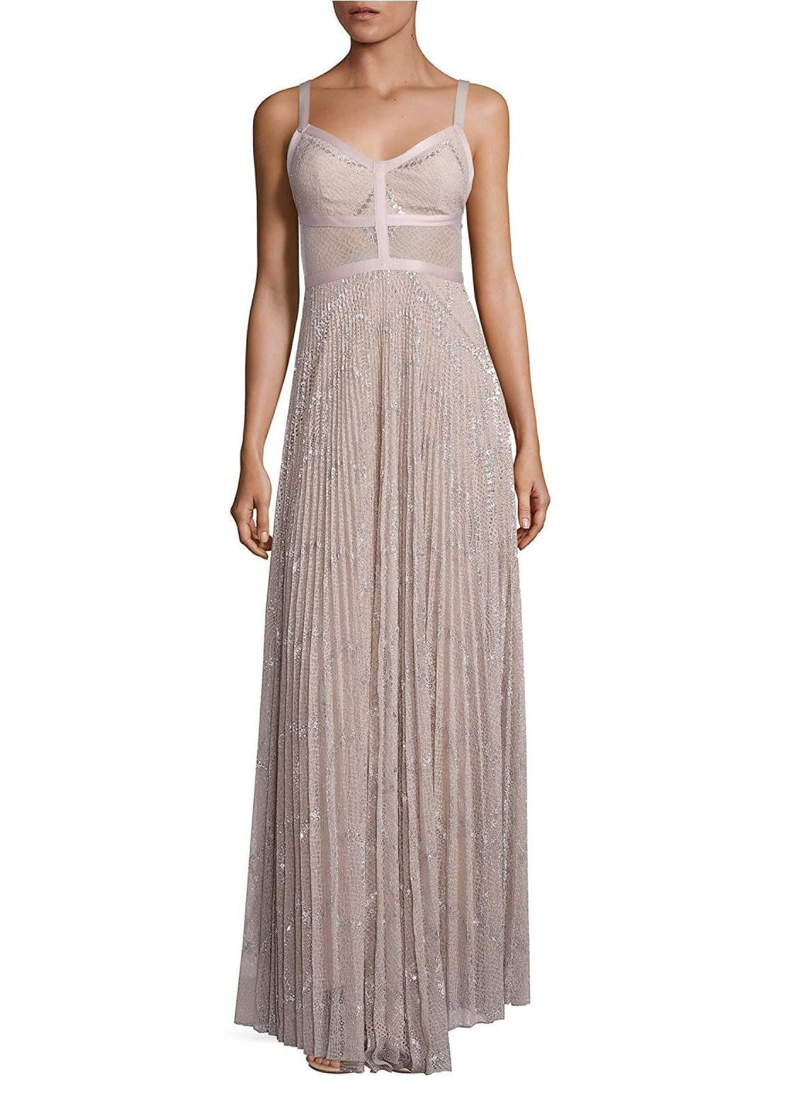 Alexis isabella lace gown silver blush