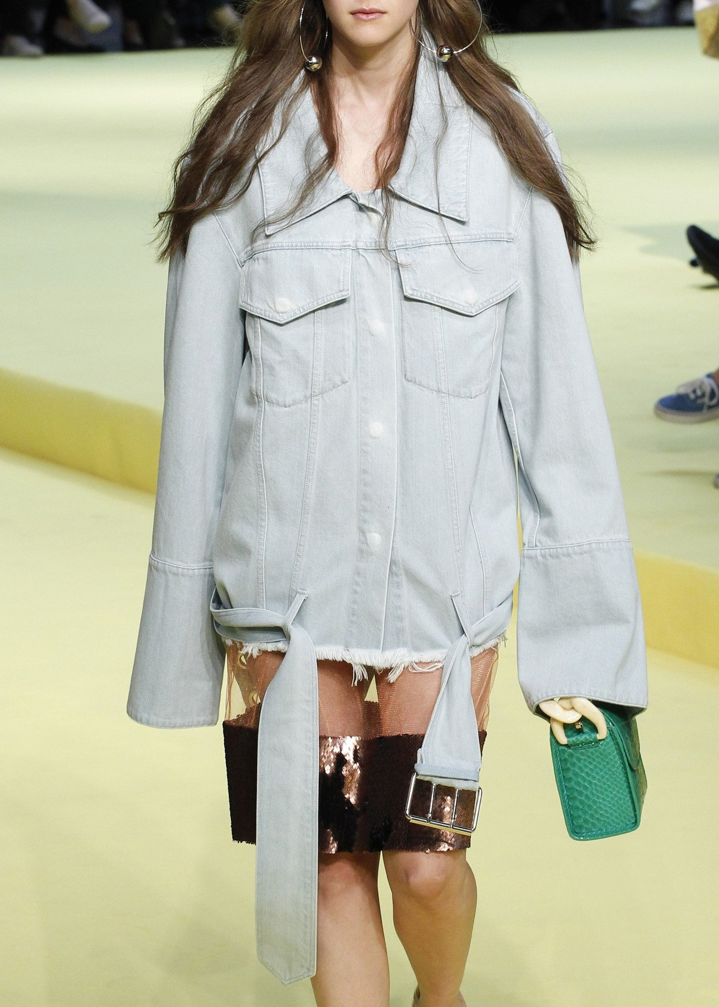 Marques Almeida over-sized denim jacket with belt