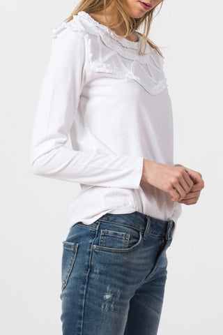 Indi & Cold cotton longsleeve top white