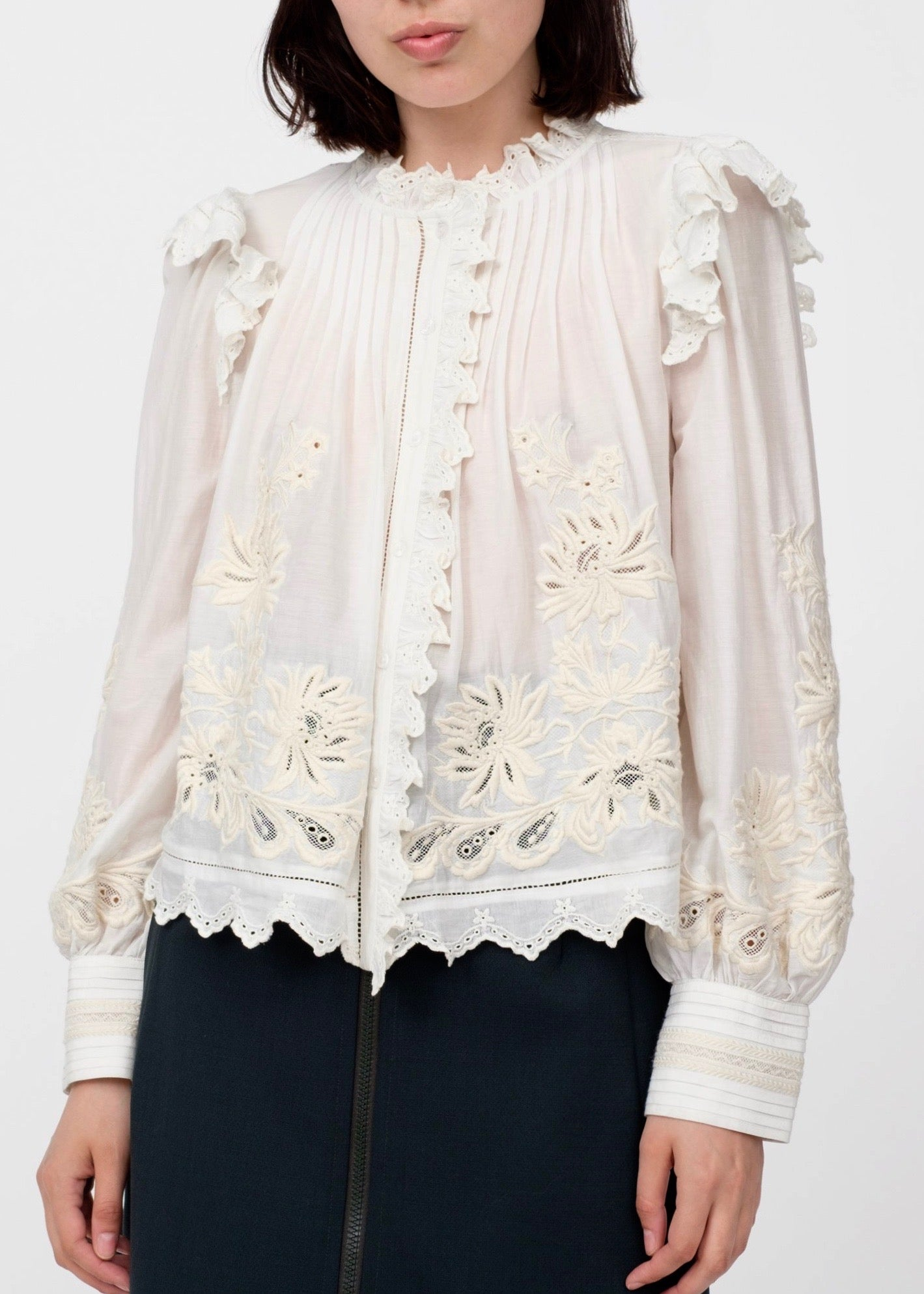 Sea Greta long sleeve ruffle blouse in cream