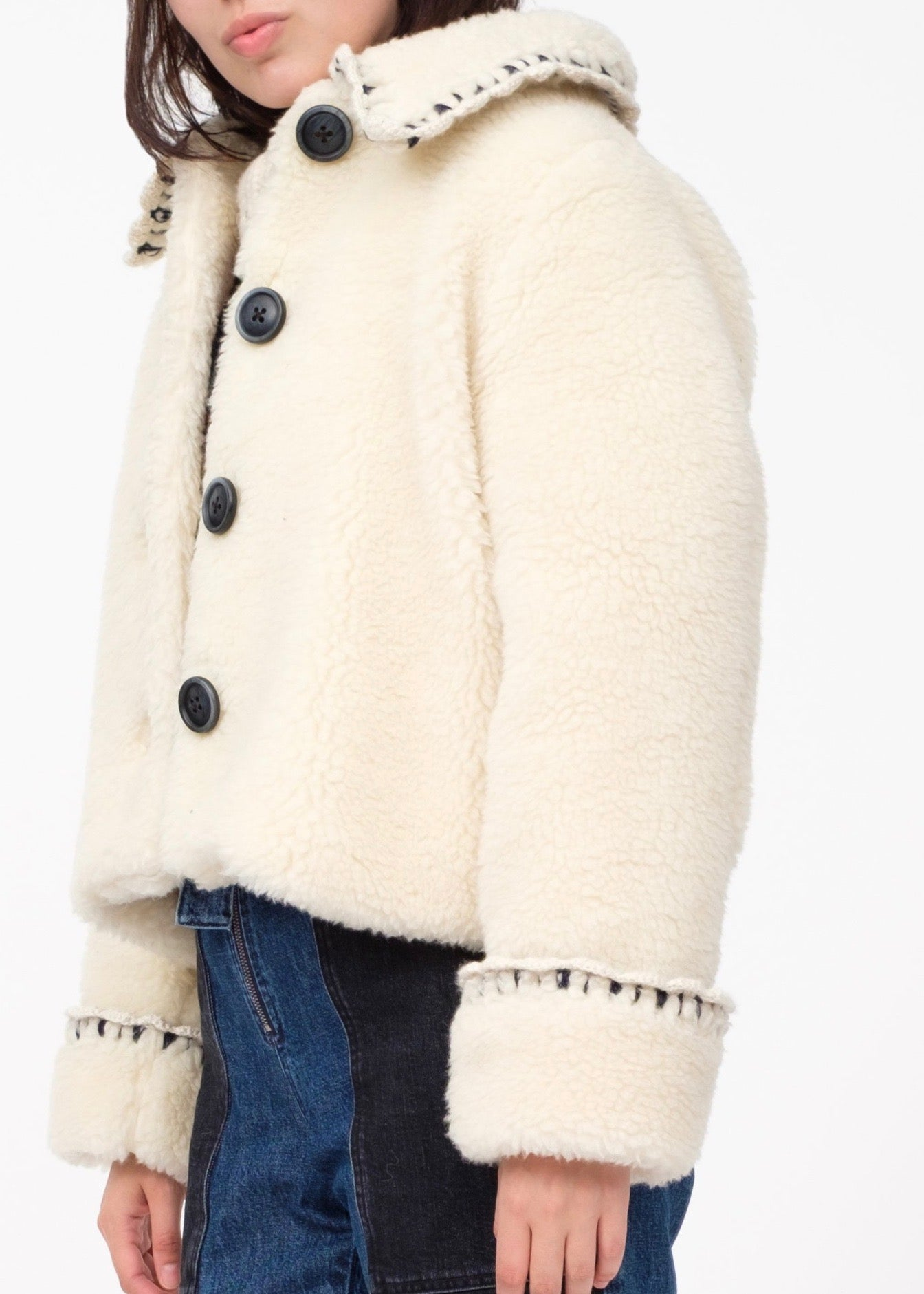 Sea Madeline novelty stitch boxy faux fur coat in cream