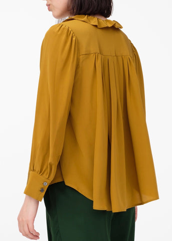 Sea Solange long sleeve button down ruffle blouse in mustard