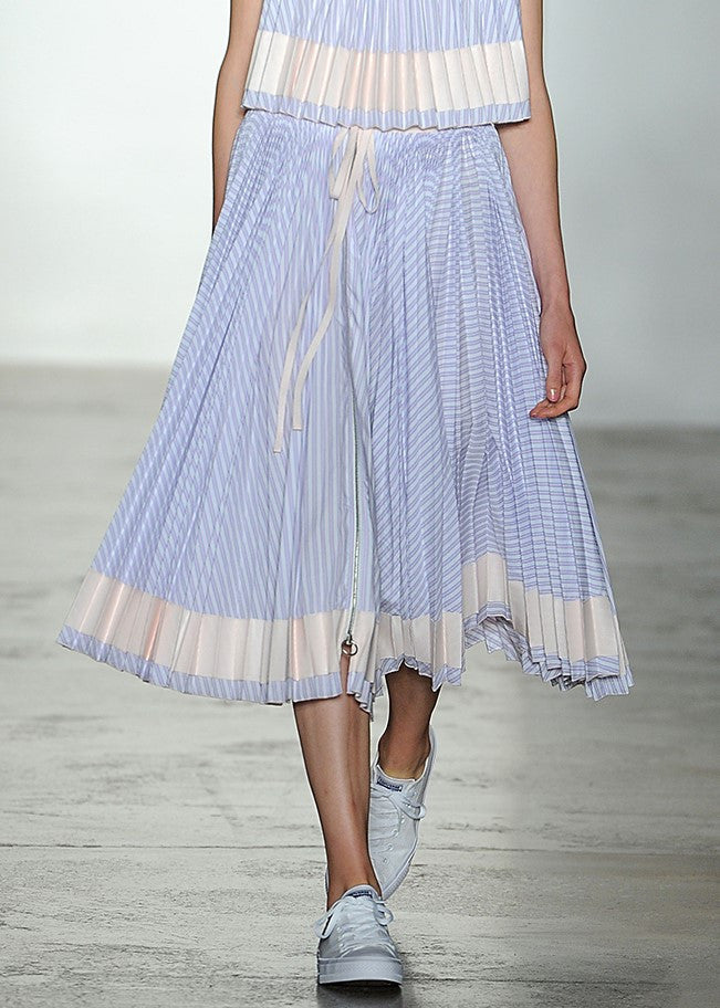 Adam Selman pleated stripe skirt