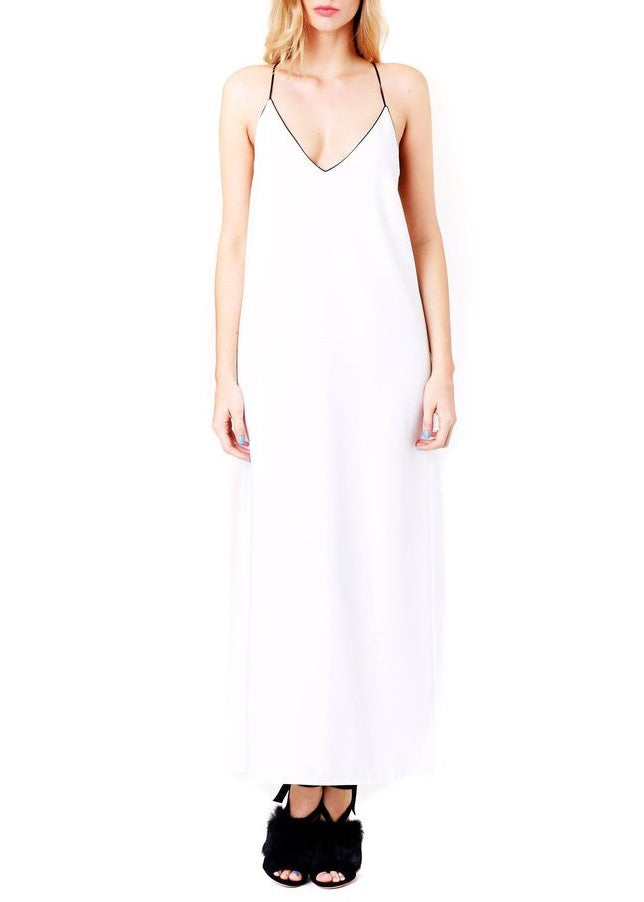 Adam Selman long wrap slip dress white