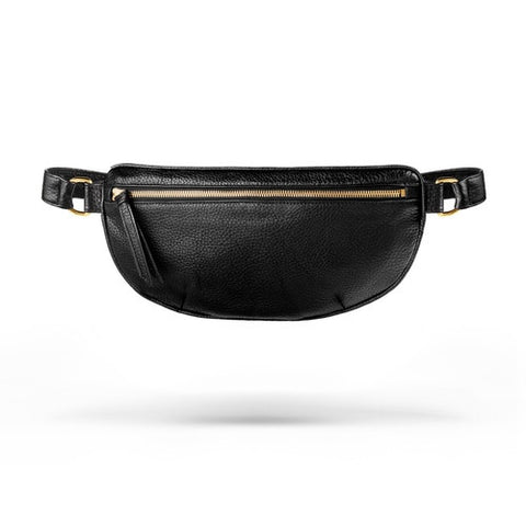 Ames Tovern grain leather hip bag black