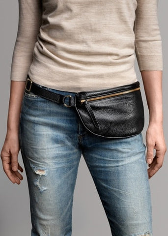 Ames Tovern leather hip bag taupe