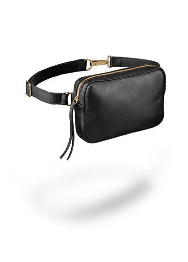 Ames Tovern leather square hip bag black