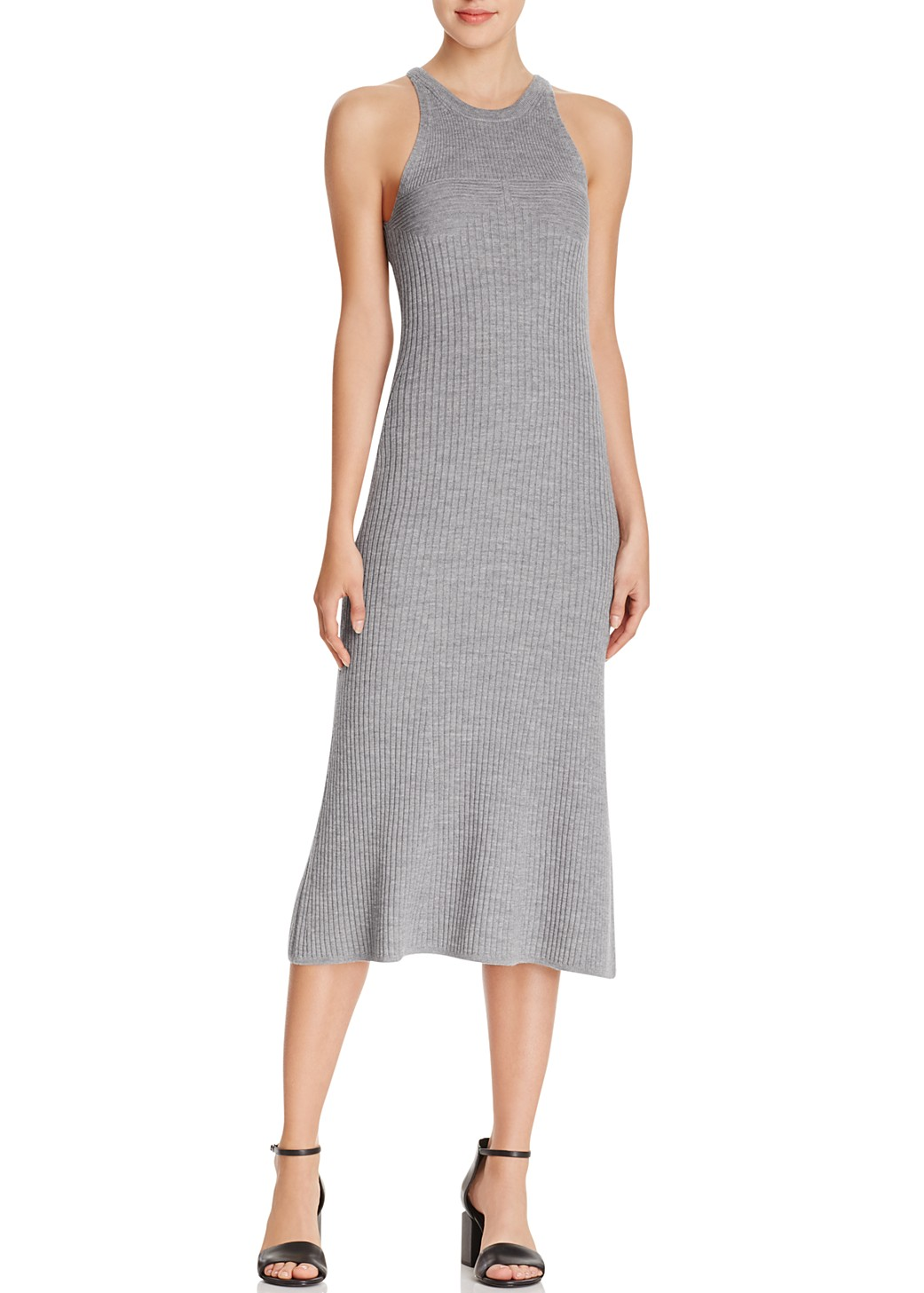 T by Alexander Wang sleeveless knit long dress heather grey