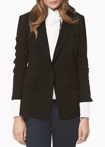Veronica Beard black long and lean jacket with ivory knit ottoman dickey