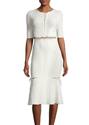 Jonathan Simkhai lace up knit trumpet dress ivory