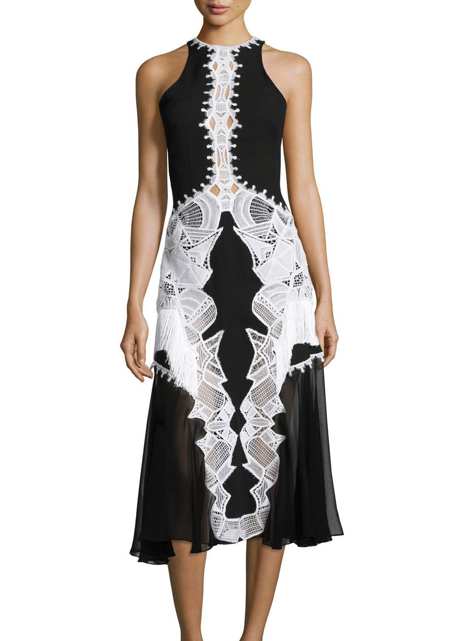 Jonathan Simkhai lace applique contoured dress black white