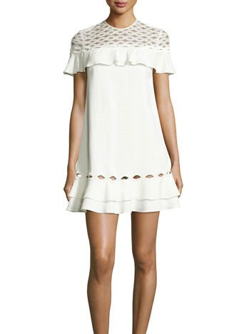 Jonathan Simkhai applique ruffle tee dress white
