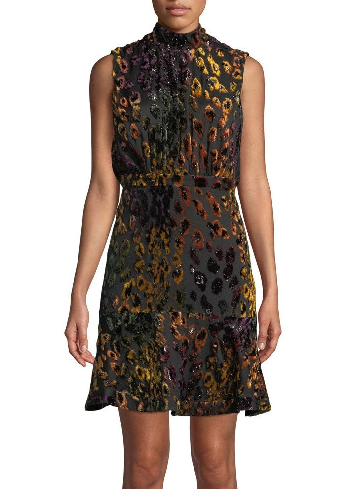 Saloni Fleur short dress in rainbow leopard