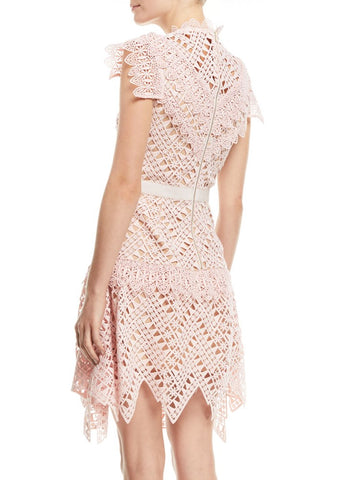 Self Portrait ABSTRACT TRIANGLE LACE DRESS in pink