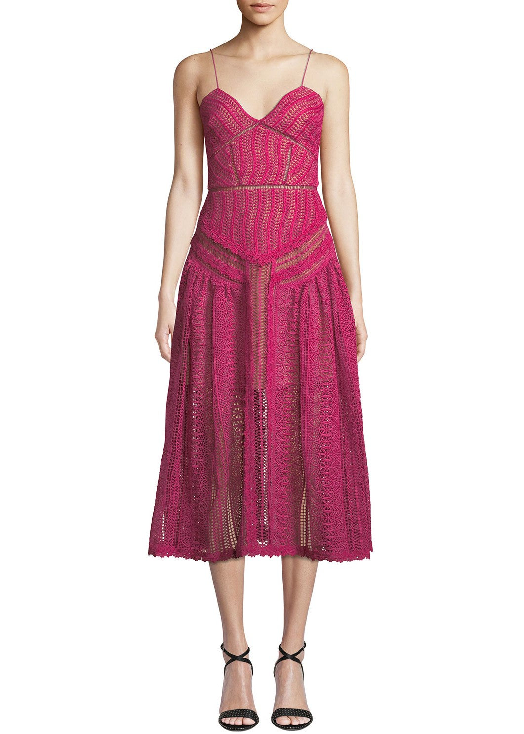 Self Portrait FUCHSIA SPIRAL LACE PANEL DRESS