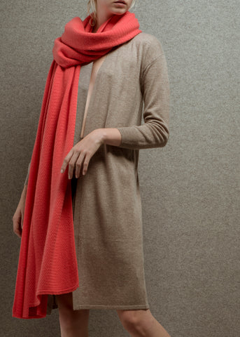 Zynni Maxi Cashmere Blend Cardigan in toast 26