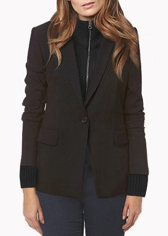 Veronica Beard black long and lean jacket with black uptown dickey