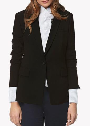 Veronica Beard black long and lean jacket with light grey knit ottoman dickey